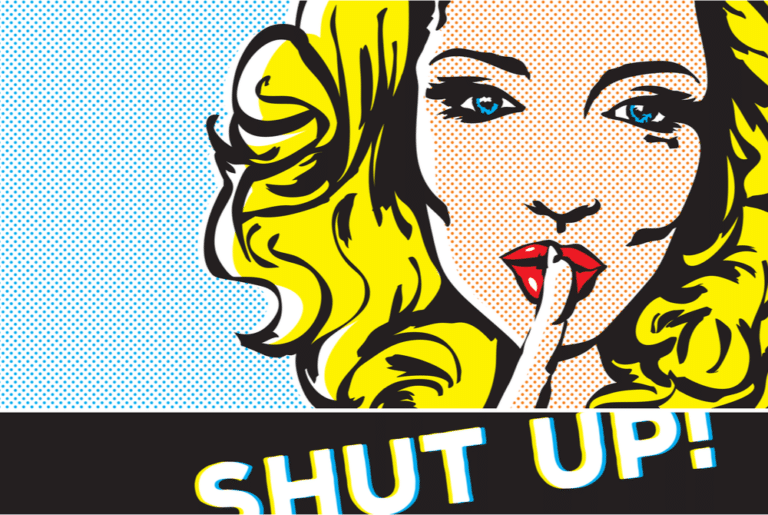 Cartoon woman using hand gesture to be quiet concept of criminal defense lawyer in Tennessee and to Shut the F*@k Up